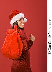 Christmas girl - Beautiful Christmas girl with gifts sack...