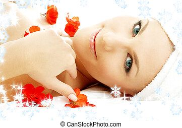 red flower petals spa with snowflakes #3 - beautiful lady...