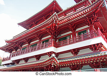 Traditional chinese temple - Architectural detail of...
