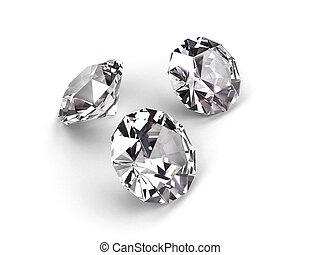 Three diamonds on white background High resolution 3D render...