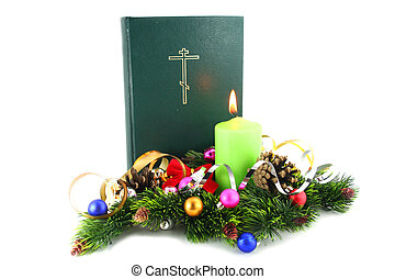 Christmas Time Bible with the xmas decorations