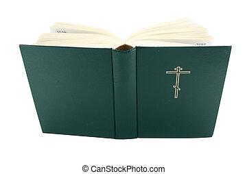 livro, Cortando, bíblia, aberta, caminho
