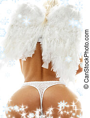 feels like christmas heaven - back of lady in white lingerie...