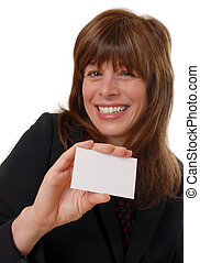 presenting business card - cute woman with blank business...