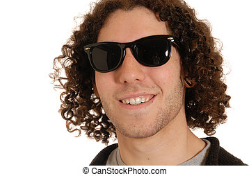 cool dude - casual young man with curly hair, wearing...