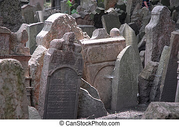 Prague ancient cemetary - gravestones at Pragues ancient...