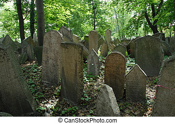 Jewish cemetary - gravestones at Pragues ancient Jewish...
