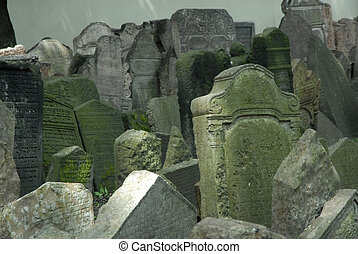 Prague cemetary - gravestones at Pragues ancient Jewish...