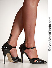 stilettos & stockings - pretty legs in black seamed...
