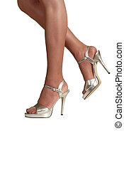 silver stilettos - sexy legs in stockings, wearing silver...