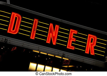 retro DINER sign - red neon sign at night - diner