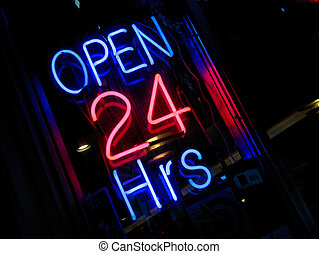 neon Open 24 hours si - pink blue neon Open 24 hours sign at...