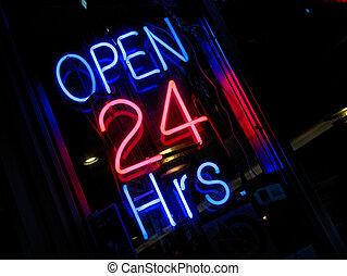 neon \\\'Open 24 hours\\\' si