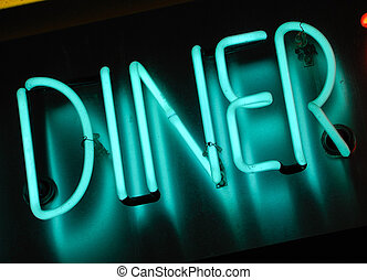 neon diner sign - illuminated blue neon sign at night -...
