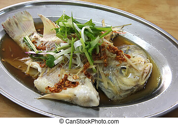 Chinese steamed fish - Whole steamed fish with soy sauce...