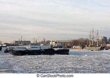 The ice-bounded ships - the view of ships in Petersburgs...