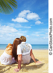 lonely couple - a portrait of attractive couple having date...