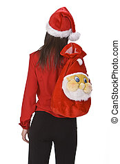 Christmas girl - Young brunette carrying a funny Santa...