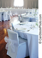 Wedding reception. - Tables decorated at a wedding...