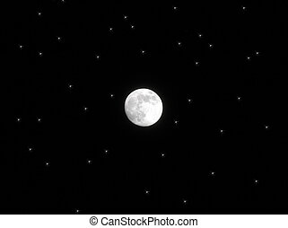 Full moon among stars. Moon is real (photo), stars are...