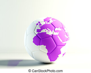 world football lilac - soccer ball with a world map isolated...