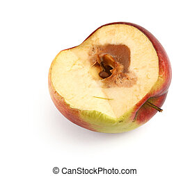 half of a rotten apple against white background, shadow at...