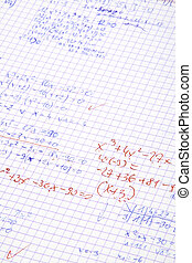 hand written maths calculations with teacher\\\'s corrections in red