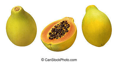 Papayas - A photo of 3 papayas isolated on a white...