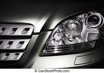 Car headlight - Front of an SUV, grill + headlight