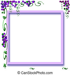 vineyard frame - grapes and vines colorful frame with cutout...
