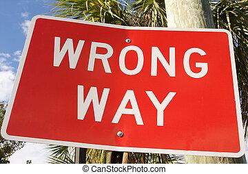 road sign - red road sign warning wrong way