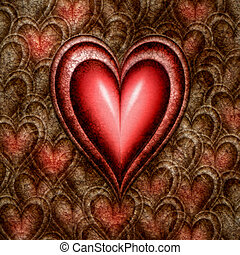 emergence of love - red hearts emerging from those of stone...