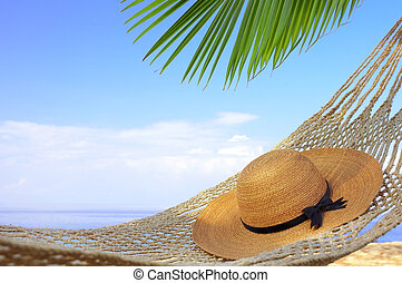sailor-hat - view of nice hammock hanging between two palms...