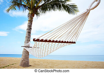 tropic swing - view of nice white hammock hanging between...