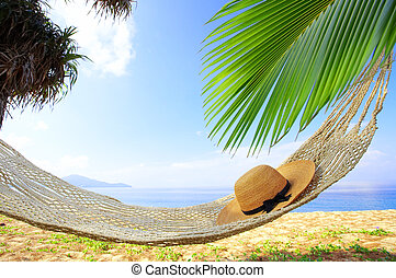 hammock and bliss - view of nice hammock hanging between two...