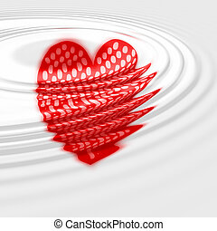 Red hart in water ripple