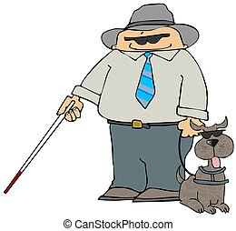 Blind Man With A Dog - This illustration depicts a blind man...