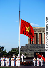 Flag of Vietnam in morning at summer