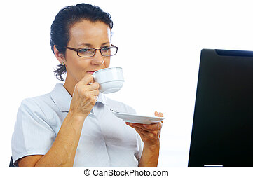 woman and coffee - portrait of businesswoman drinking coffee...