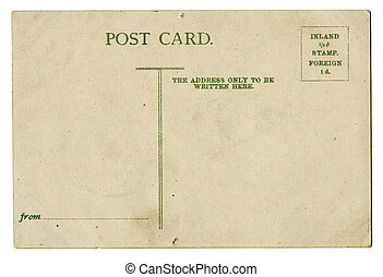 vintage blank postcard, space for text, isolated on white