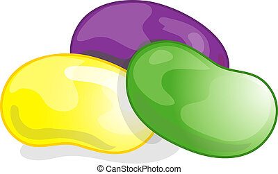 Jelly Beans - Illustration of three jelly beans