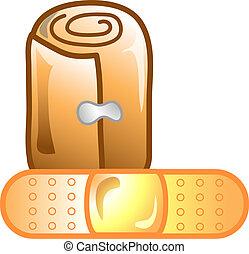 Vet Bandage icon - Illustration of a bandage and roll icon,...
