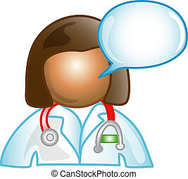 Female Dr. comment icon - Illustration of a doctor comment...