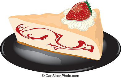 Strawberry cheesecake on a plate - Illustration of a slice...