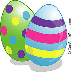 Easter Eggs - Illustration of two eggs dyed for Easter