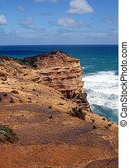 headland - lime stone coast showing rock stack named, the...