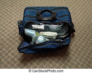 Open Homecare Bag - Blue Nurses Bag Open With Supplies...