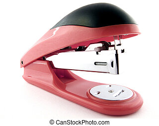 Red stapler on a white background. isolated 1
