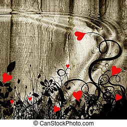 Hart with ripple - Valentine image with red love harts
