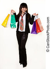 Girl shopper - Full body of an attractive Chinese woman...